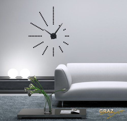 wwwamazonde Wandtattoo-Uhr-Wanduhr-Retro-stylische dp - moderne wanduhren wohnzimmer