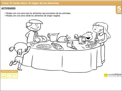 El origen de los alimentos ejercicios escolares para for Actividades con cartulina para ninos