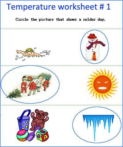 Temperature worksheets, kindergarten measurement worksheets ...