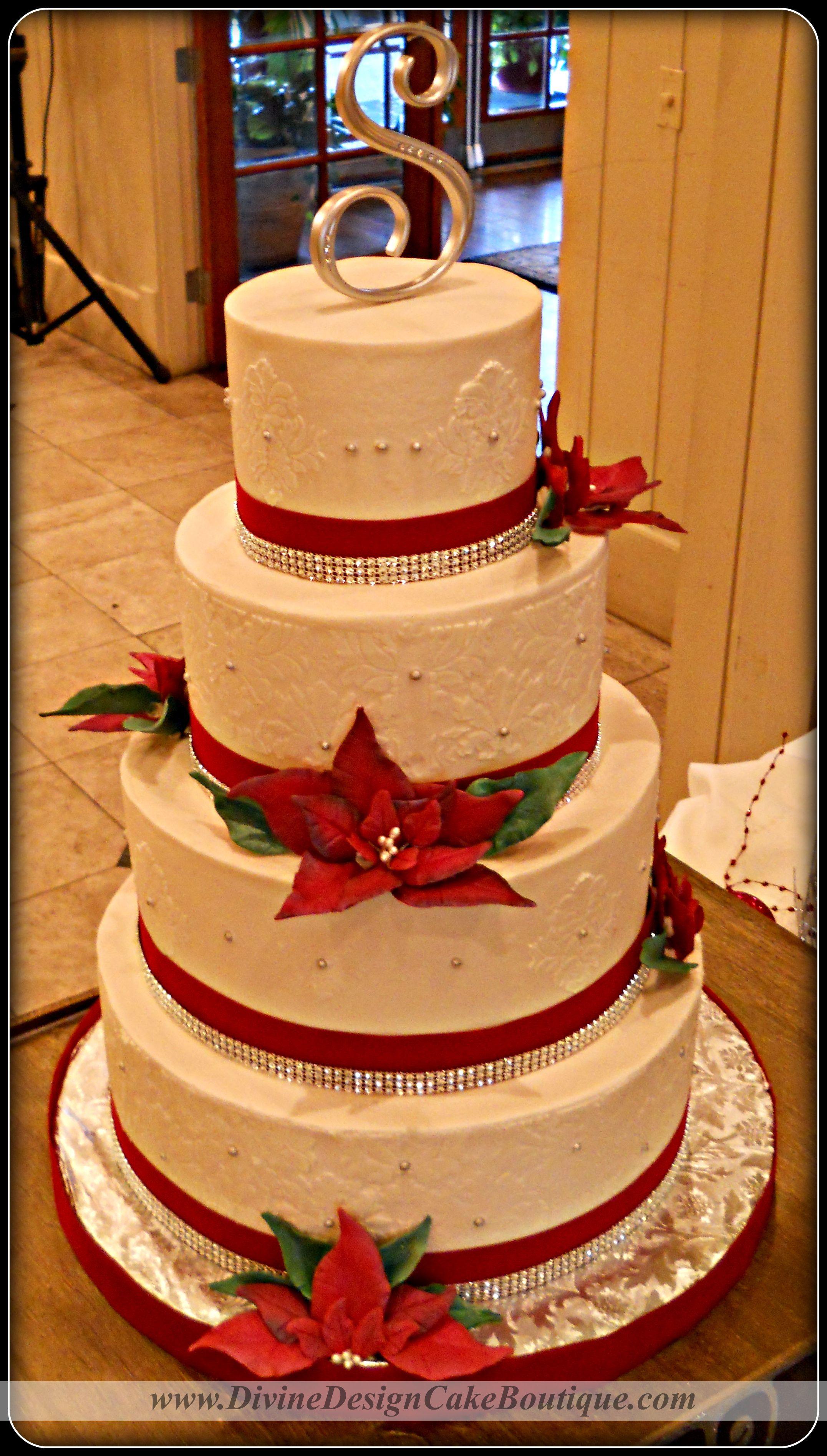 Maroon and white wedding decor  Christmas Wedding Cake  F  Cake Decorating Community  Cakes