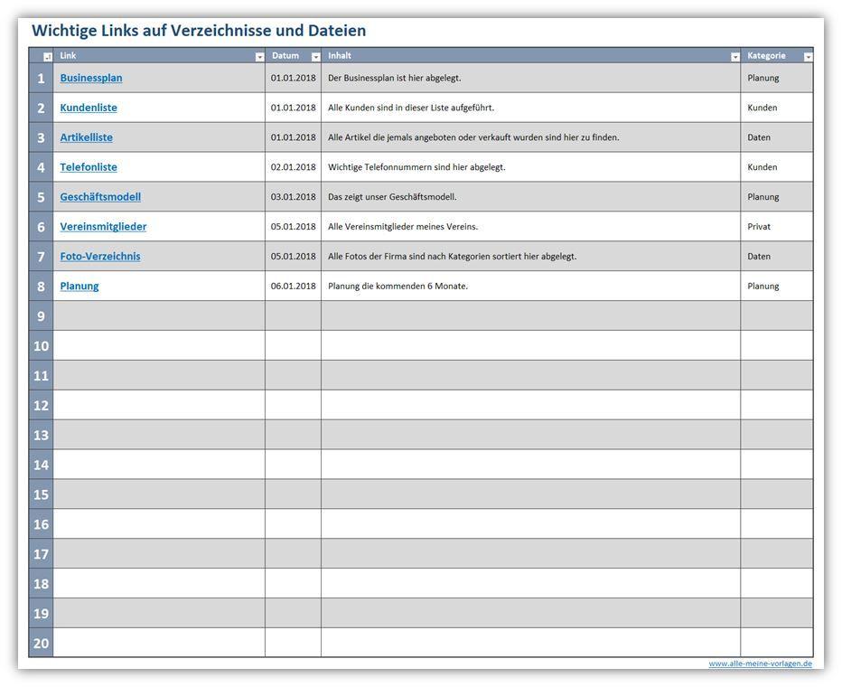 Navigation mit Hyperlinks in Excel. Diese Excel-Vorlage bietet dir ...