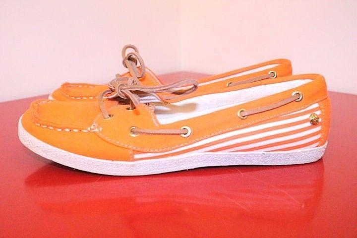 Sebago Shoes 7 Orange White Stripe Canvas Fayette Casual Lace Up Boat Shoes…