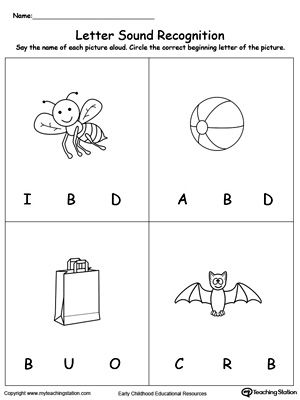 Recognize The Sound Of The Letter B Letter B Letter B Worksheets Cool Lettering Letter sound recognition worksheets