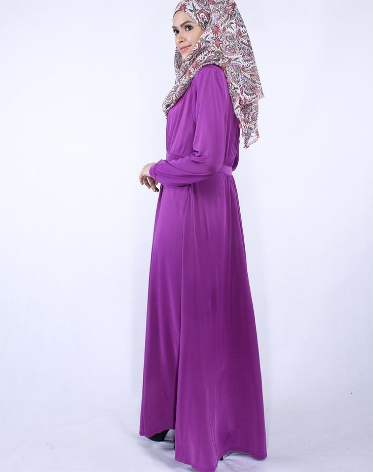 Cool Maxi Dress Ayu Pleated Stretchable Jersey Maxi Dress in Purple ...
