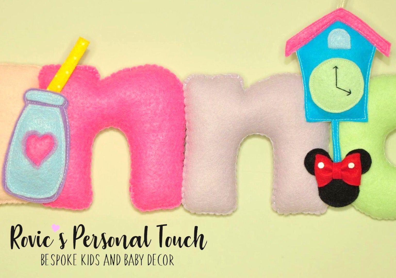 Minnie Mouse Felt Name Banner | Rovic\'s Personal Touch - Baby ...