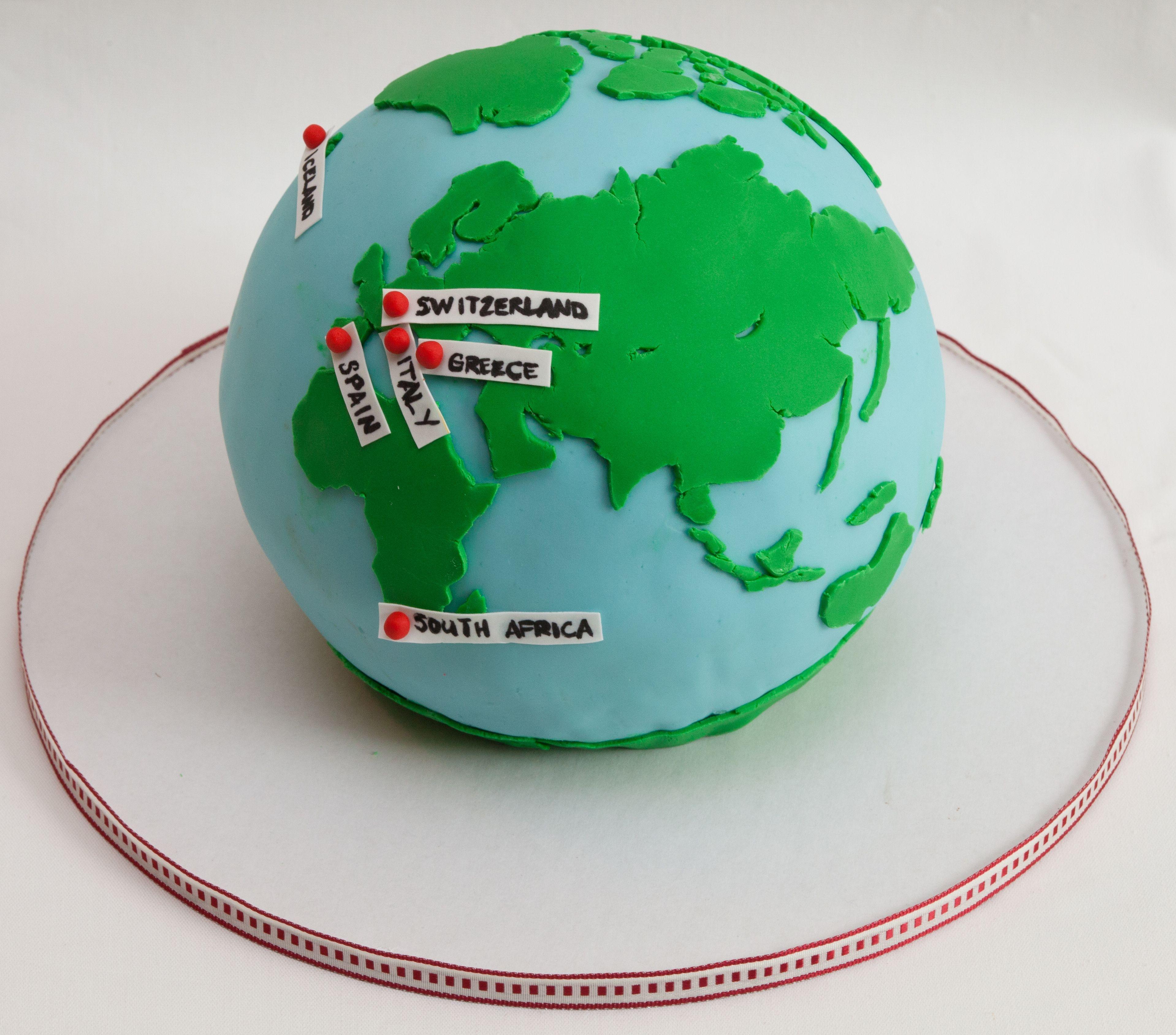 Globe Birthday Cake Hiking The World Globe Cake
