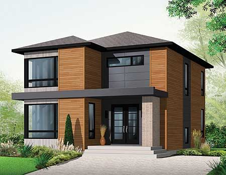 Plan 21998DR Stately Modern Modern House and Exterior
