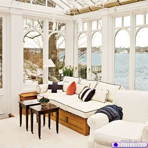 I love these windows. A sunroom is always a good idea, but I like them better when the glass can be removed!