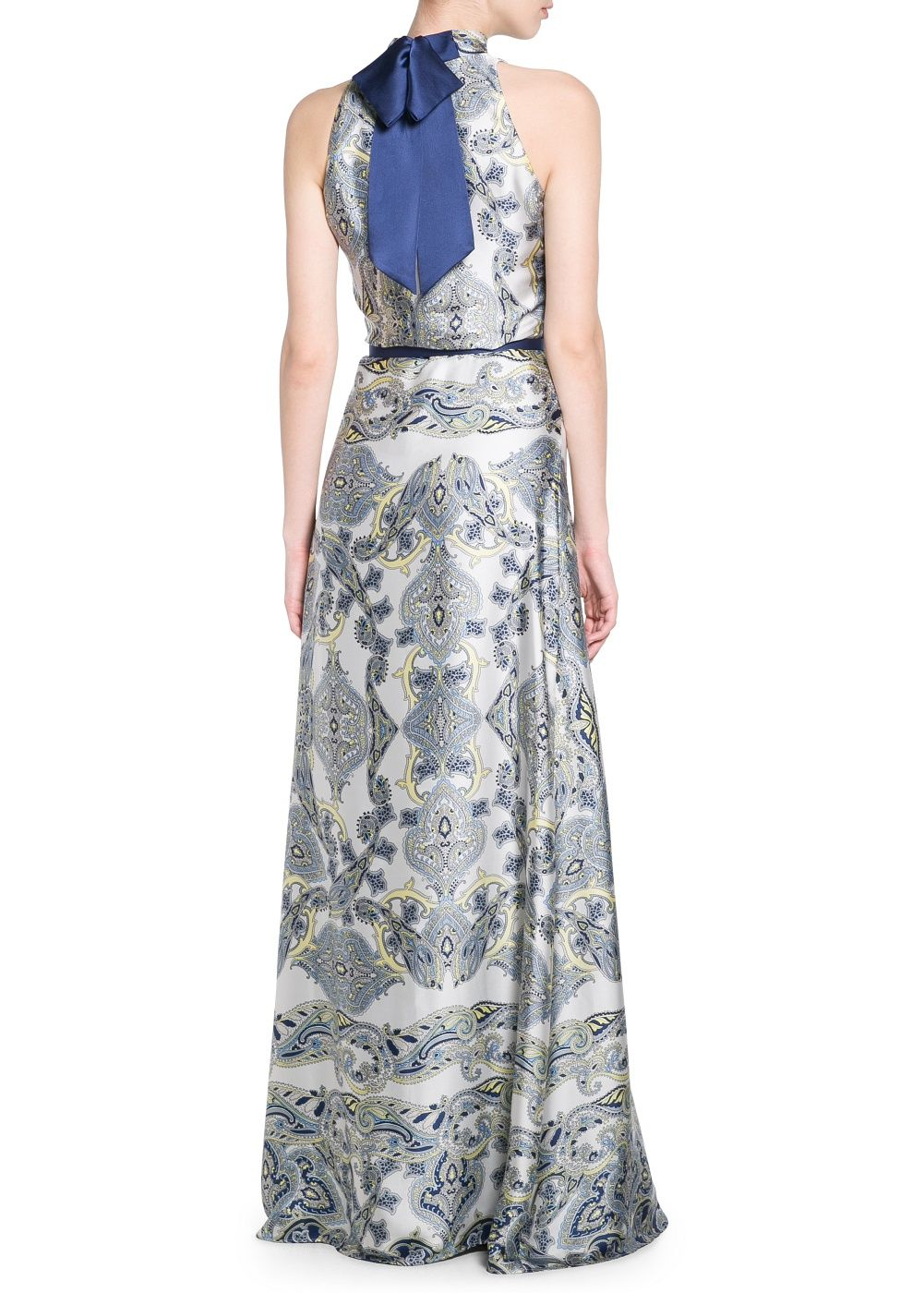 Textured bow tie gowns and paisley paisley contrast tie neck gown ombrellifo Gallery