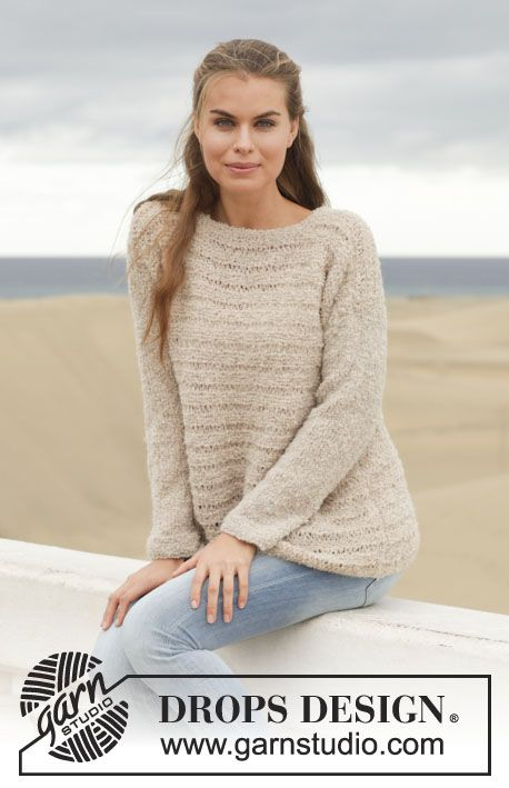 "Knitted DROPS jumper in garter st with dropped sts in ""Alpaca Bouclé ..."