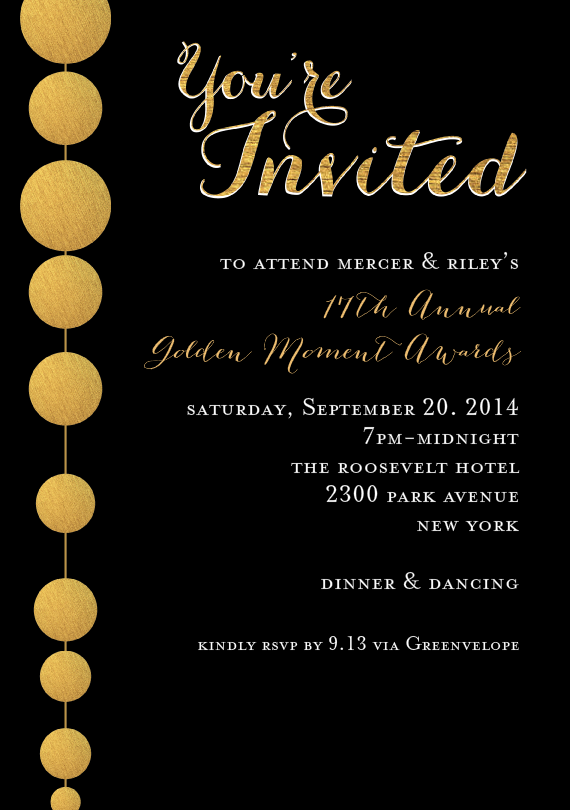 Golden Beads Invitations In Black Grand Opening