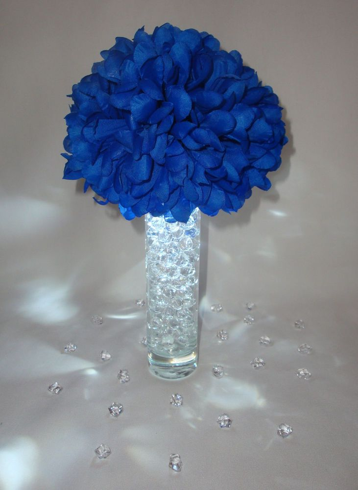 Blue led wedding flower centerpieces w vases gel beads