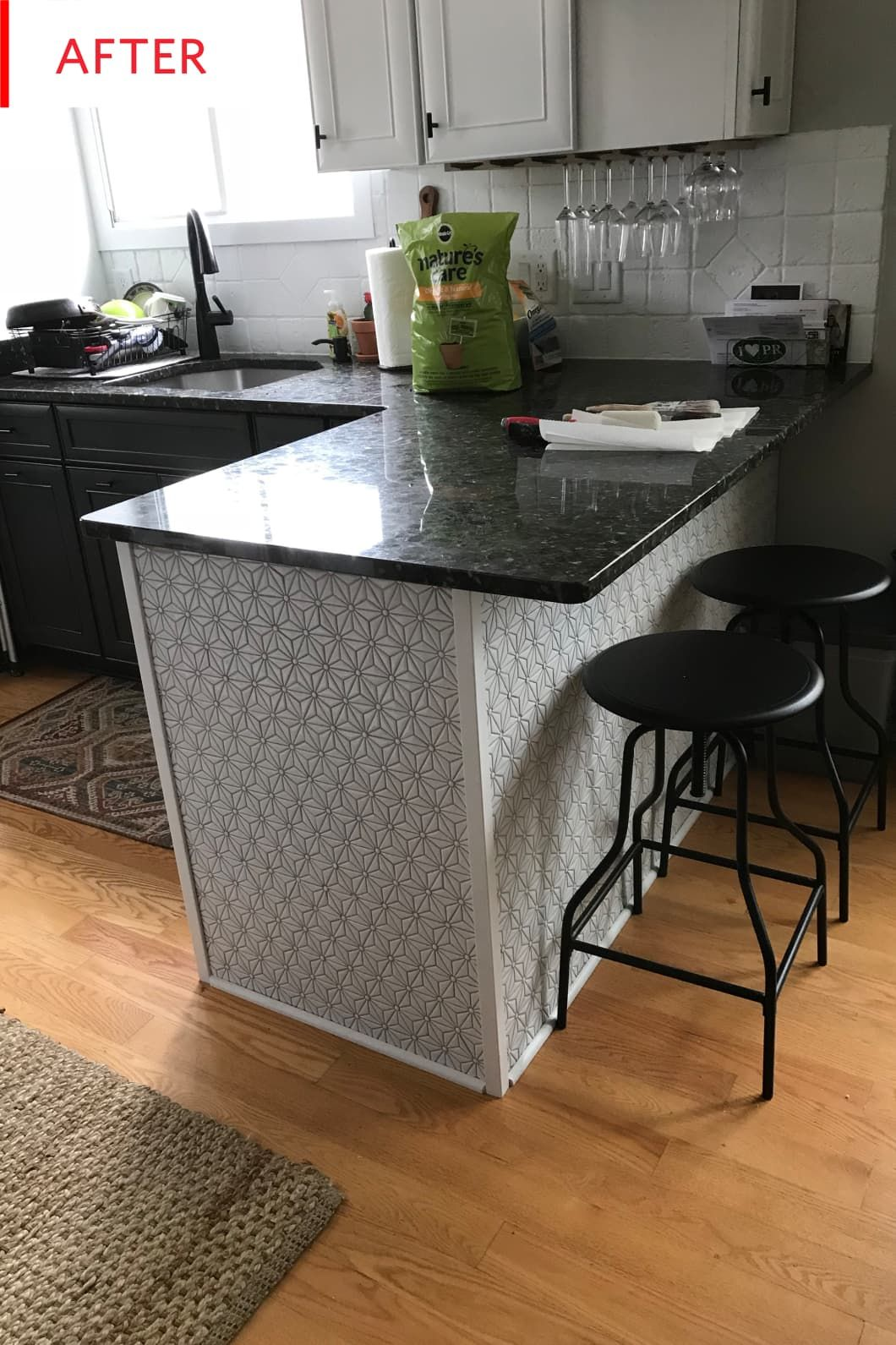 Before and After A ThreeWeek 500 Kitchen Facelift