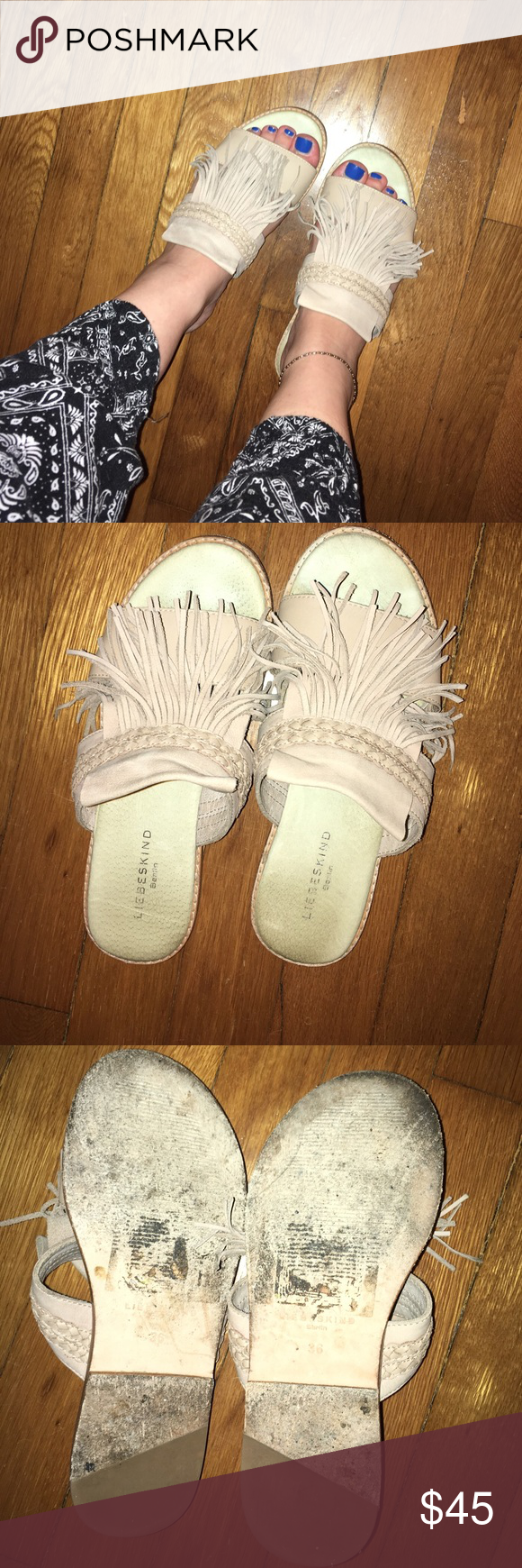 Fringe Leather Slides Super soft slides made in Berlin! On trend fringe makes these a do not miss. Leg lengthening and go with just about anything! Liebeskind Shoes Sandals