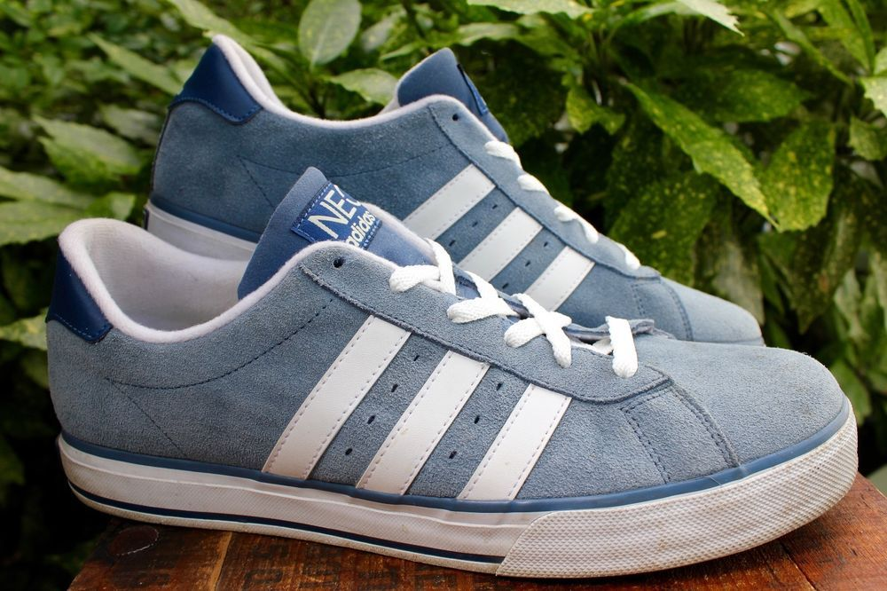 ... ADIDAS NEO Blue Suede White Stripes Leather Athletic Shoes Men 11.5  Adidas AthleticTennisShoe ...