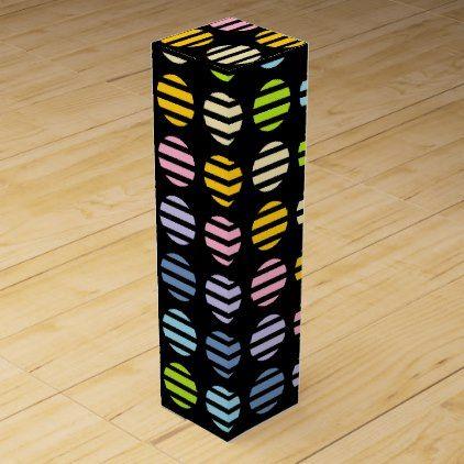 #pink - #Pastel Rainbow Polka Dots and Stripes Black Wine Gift Box