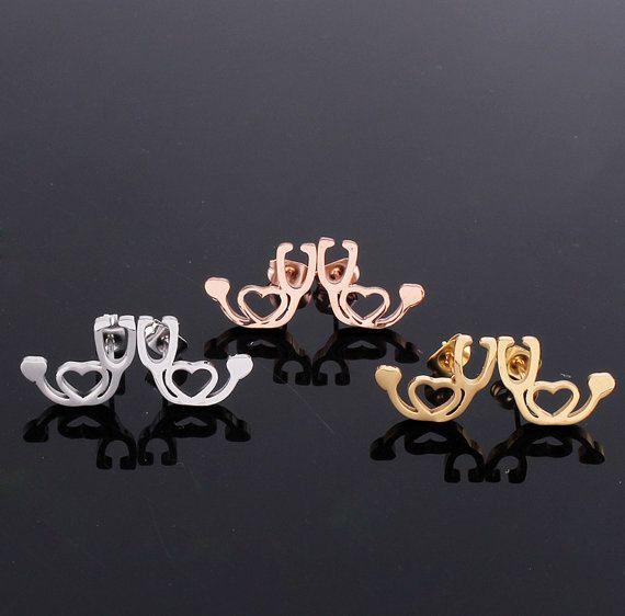 Stethoscope Stud Earrings   Silver / Gold or Rose Gold by Jadoos