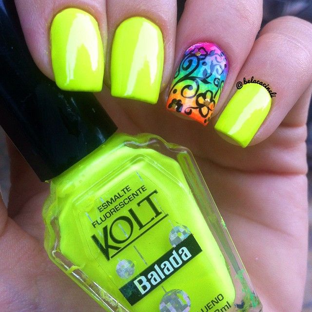 Green fluorescent with gradient colorful florwes nails. Nail art ...