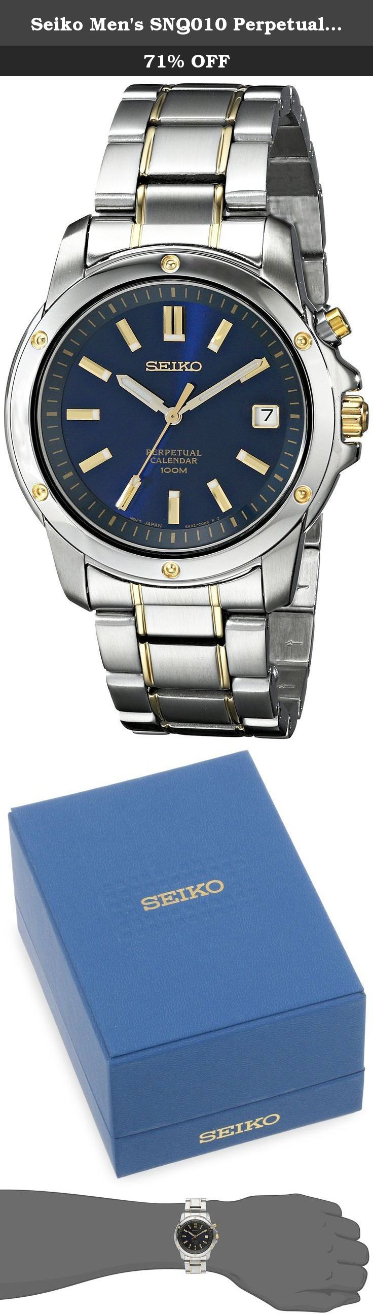 Seiko Men's SNQ010 Perpetual Calendar Watch. Two tone case and bracelet;Blue dial with goldtone hands and hour markers;Luminous hands and hour markers;Sweep second hand;Water resistant to 100 meters;Date display at 3:00;Perpetual calendar;Hardlex crystal;Japan quartz movement;Deployment clasp.