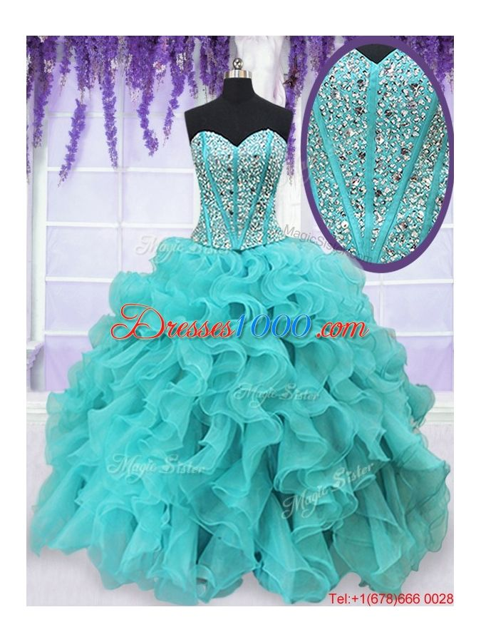 e07146aec1b Cheap Visible Boning Aquamarine Quinceanera Dress with Beading and Ruffles