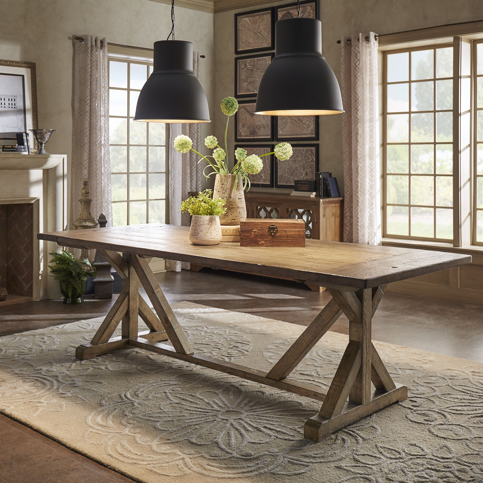 SIGNAL HILLS Paloma Rustic Reclaimed Wood Rectangular Trestle Farm Table    Free Shipping Today   Overstock
