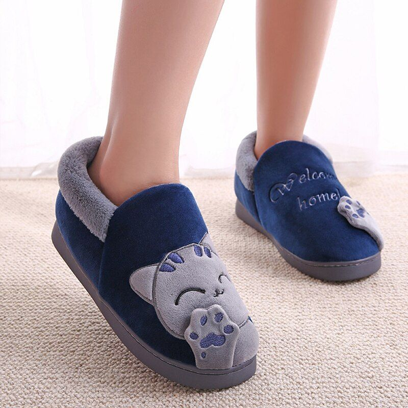 Photo of Women Winter Home Slippers Cartoon Cat Shoes Non-slip Soft Winter Warm House Slippers Indoor Bedroom Shoes Woman – All Navy Blue, 9.5