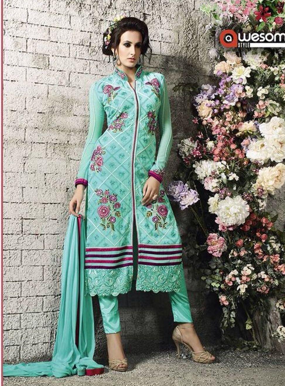 Aqua Colour Georgette Designer Salwar Kameez | Party Wear Suit ...