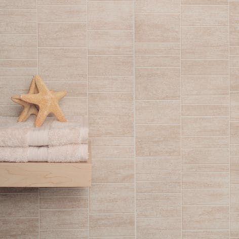 Vari-Fit Sandstone Beige PVC Small Tile Wall Panel (2440mm x 375mm x