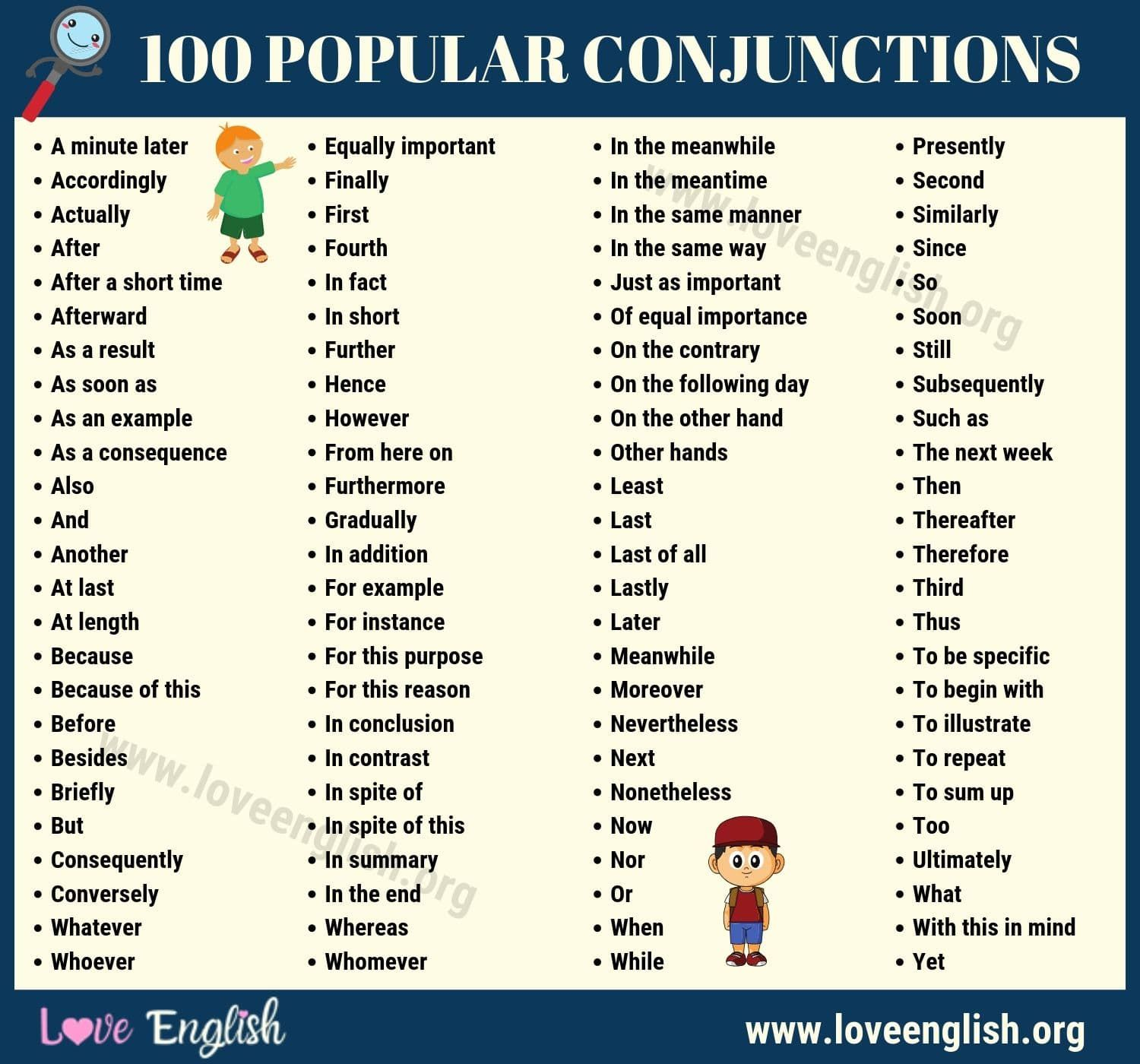 Conjunctions List Conjunctions