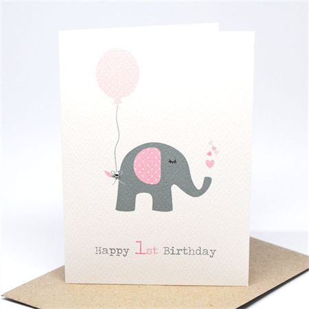 1st Birthday Card Girl Elephant With Pink Party Balloon Hbc195 1st Birthday Cards First Birthday Cards Baby Birthday Card