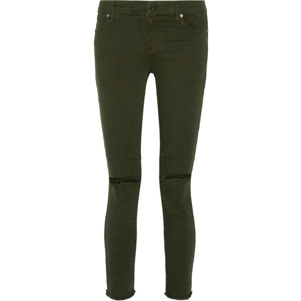 RtA Prince low-rise distressed skinny jeans ($115) ❤ liked on Polyvore featuring jeans, army green, distressed jeans, skinny jeans, destroyed jeans, skinny leg jeans and denim skinny jeans