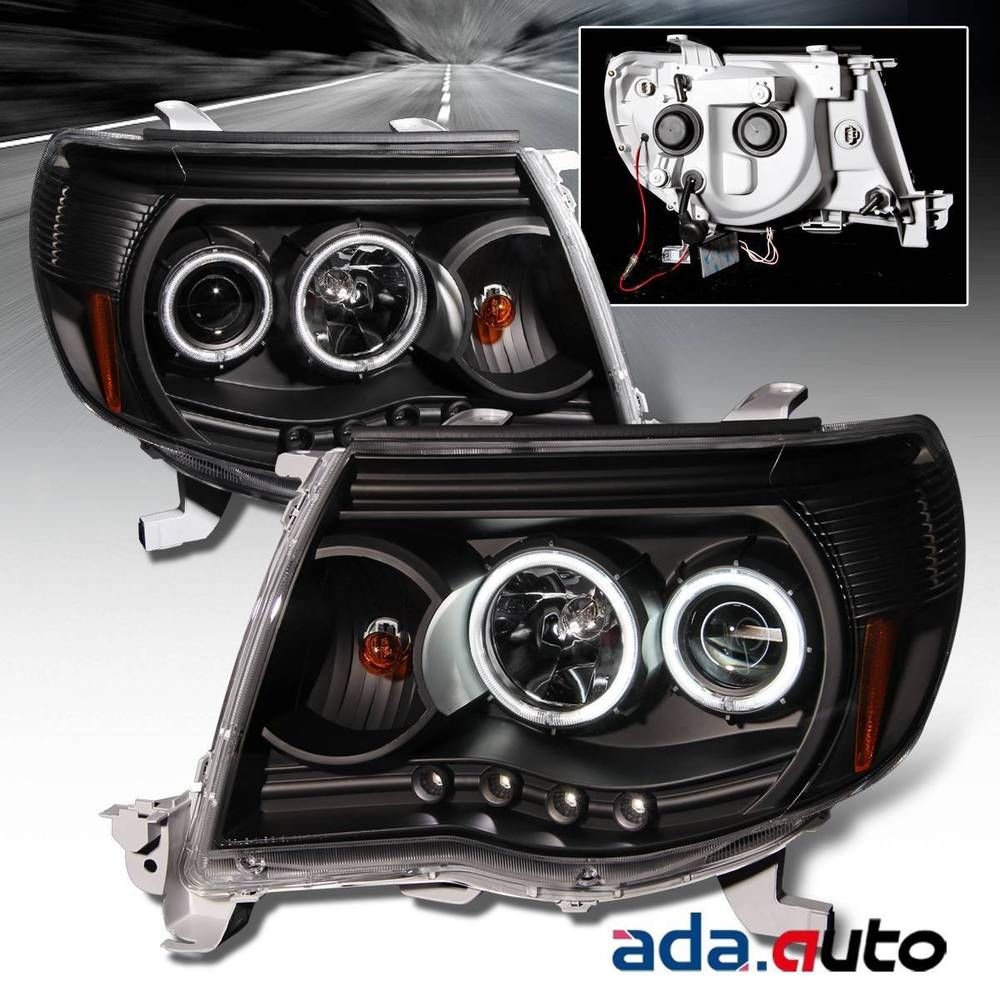 For 2005 2011 toyota tacoma dual ccfl halo projector black headlights pair