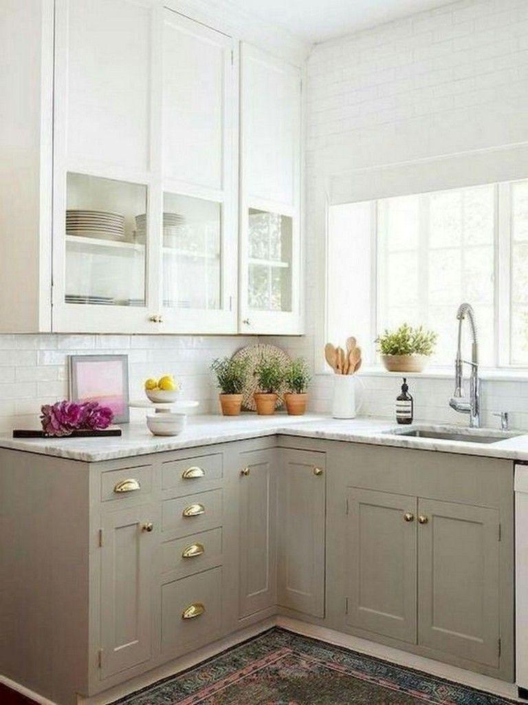 70 Amazing Farmhouse Gray Kitchen Cabinet Design Ideas