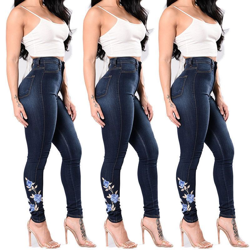 Women Floral High Waist Pencil Jeans Trousers Flower Embroidered ...