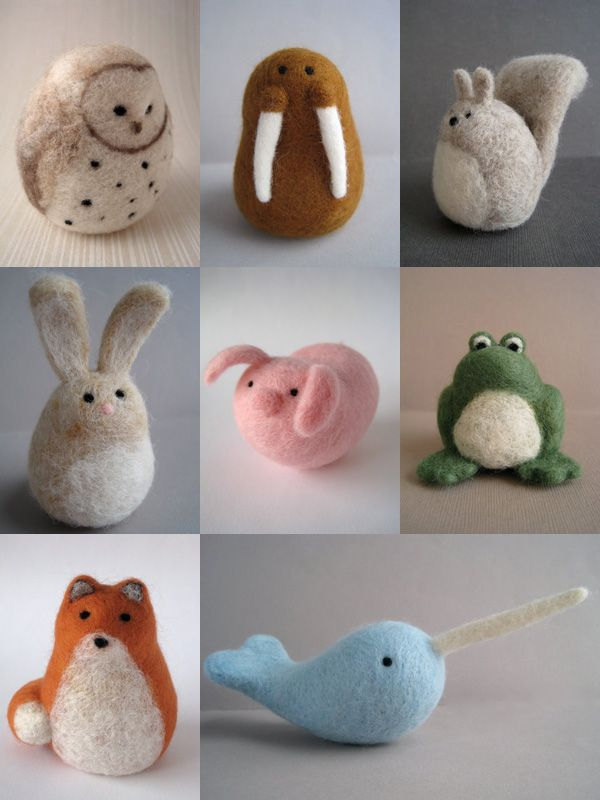 These are so adorable, especially the walrus!!      Cute collection of my Woolnimals from my  Etsy shop - www.woolnimals.etsy.com #needlefeltedcat