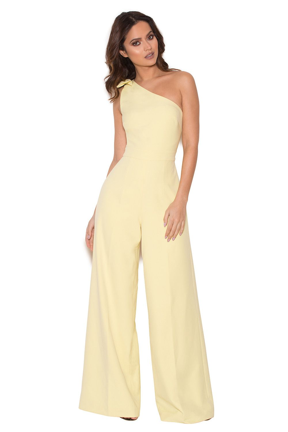 Courvel pastel lemon one shoulder jumpsuit the want list