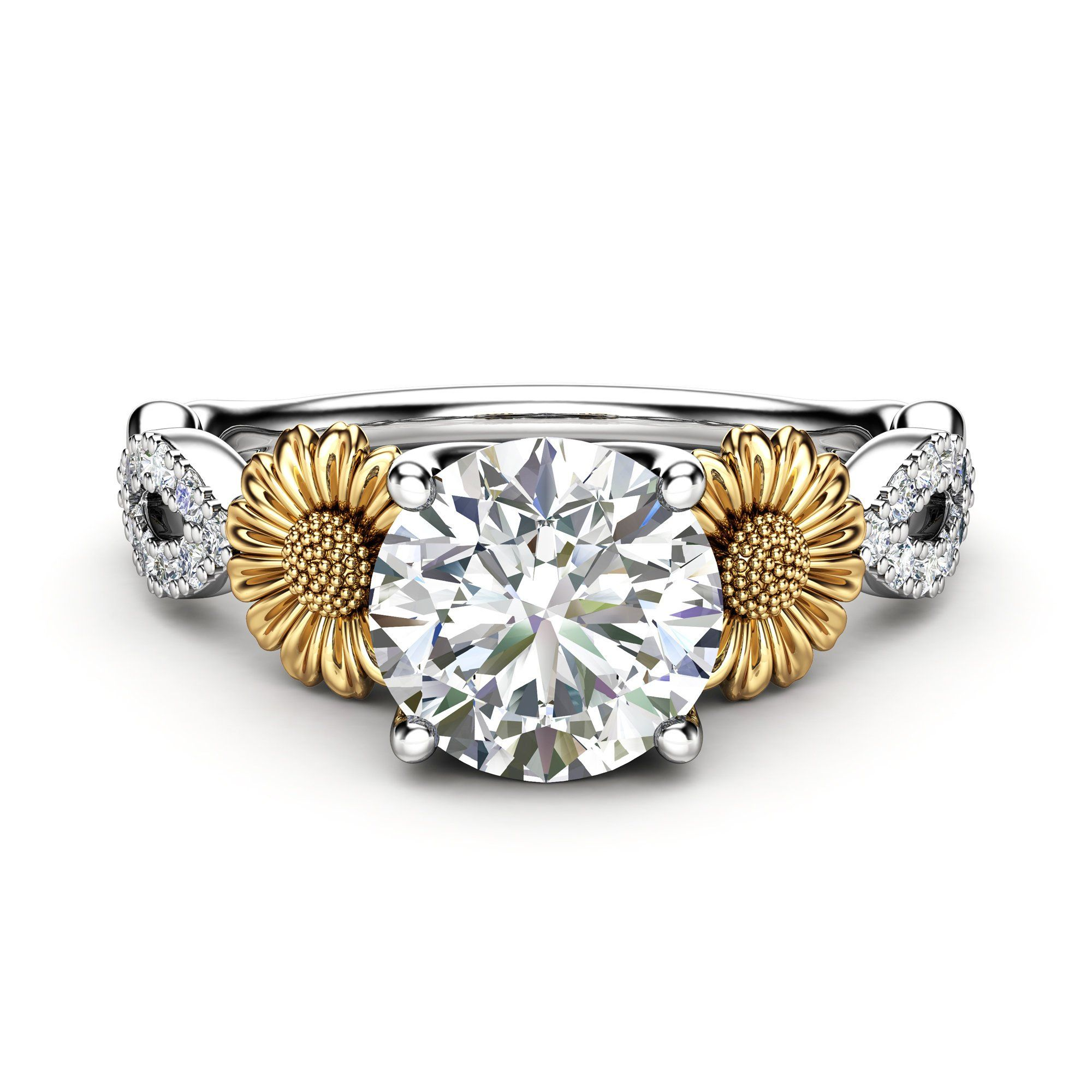 Sunflower Engagement Ring, 14K White and Yellow Gold