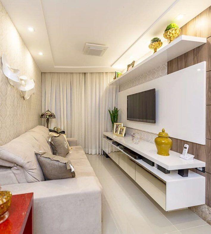 Sala pequena decorada com revestimento de papel de parede - Combinar papel y pintura ...