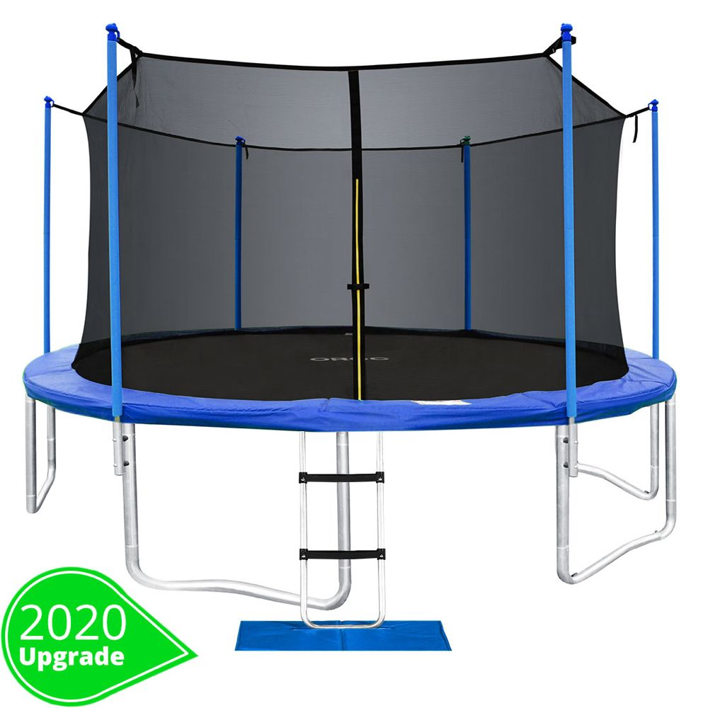 Orcc New Upgrade 15 14 12 10 Ft Trampoline With Safety Enclosure Net Wind Stakes Rain Cover Ladder Outdoor Trampoline With Tuv Certificated Best Gift For Kids In 2020 Outdoor Trampoline Kids Trampoline Trampoline
