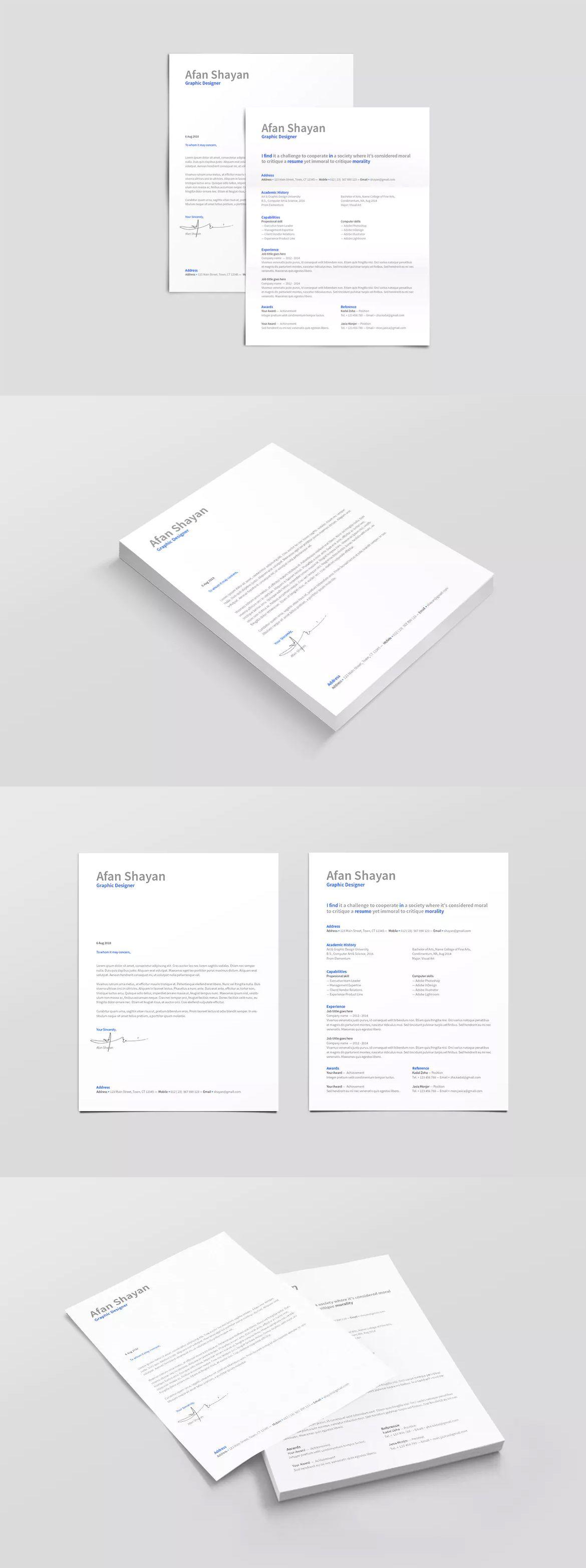 Resume Template InDesign INDD A4 & US Letter Size | Resume / CV ...