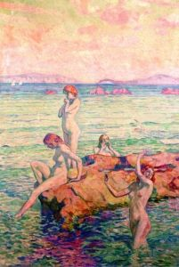 Bathers Theo van Rysselberghe - 1910 1910 Artist age:Approximately 48 years old. Dimensions:Height: 163 cm (64.17 in.), Width: 113 cm (44.49 in.) Medium: Painting - oil on board