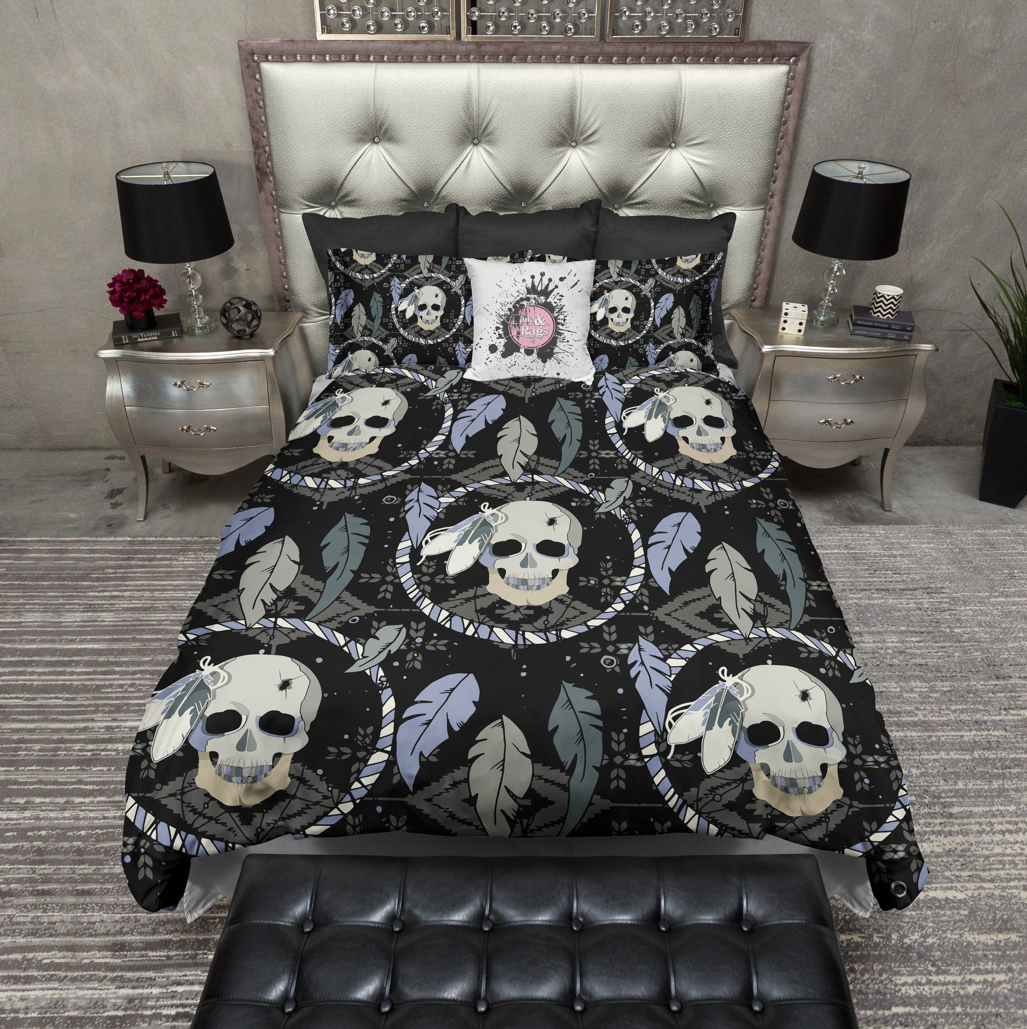 Dreamcatcher Feather Skull Bedding Cream Duvet Bedding Sets Bed