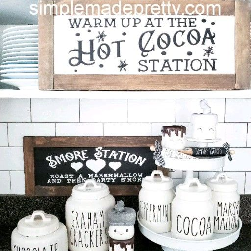 Photo of HOT COCOA & S'MORES STATION DECALS – Rae Dunn Inspired, Rae Dunn Decals