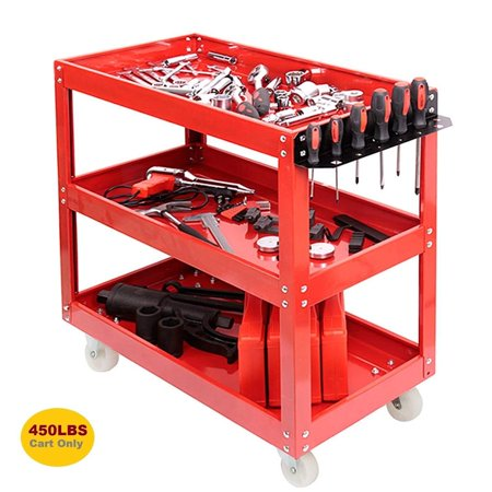 3 Tier Mobile Roller Work Shop Chest Trolley Storage Tool Box Toolbox 450lb