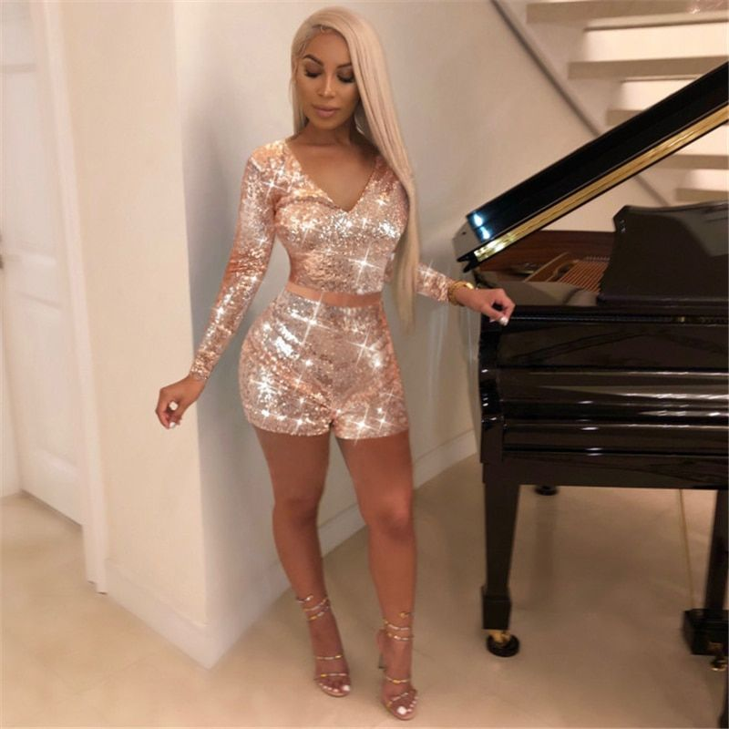 c032e041b8b9 Gold Glitter Sequin Sexy Club Outfits 2019 Winter Party Set Women Long  Sleeve V-Neck Crop Top and Shorts 2 Piece Set  suits  sets  sweaters   tshirs  new ...