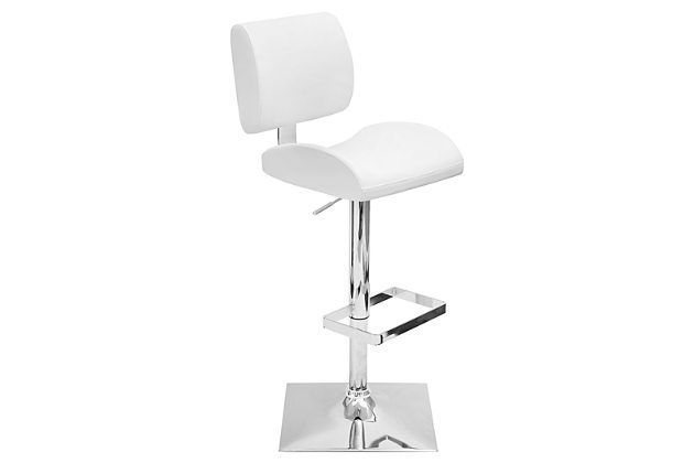 LumiSource Locust Adjustable Height Barstool with Swivel by Ashley HomeStore, White