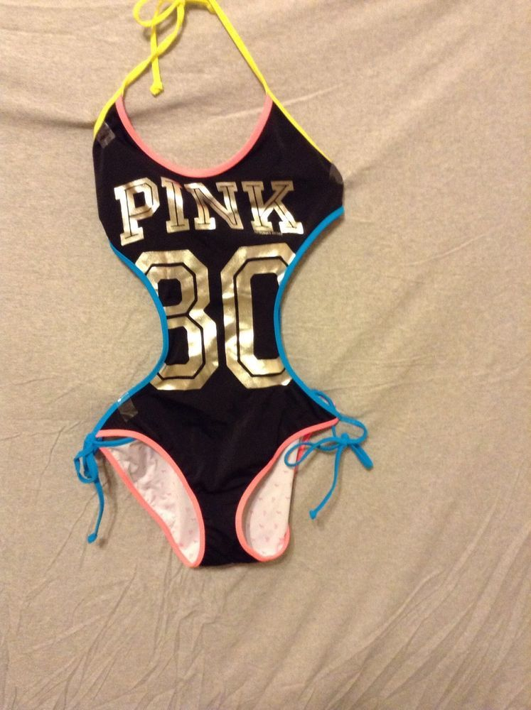 90469ff7766 LOVE! Victorias Secret Pink Swimsuit size M bright neon silver black ...