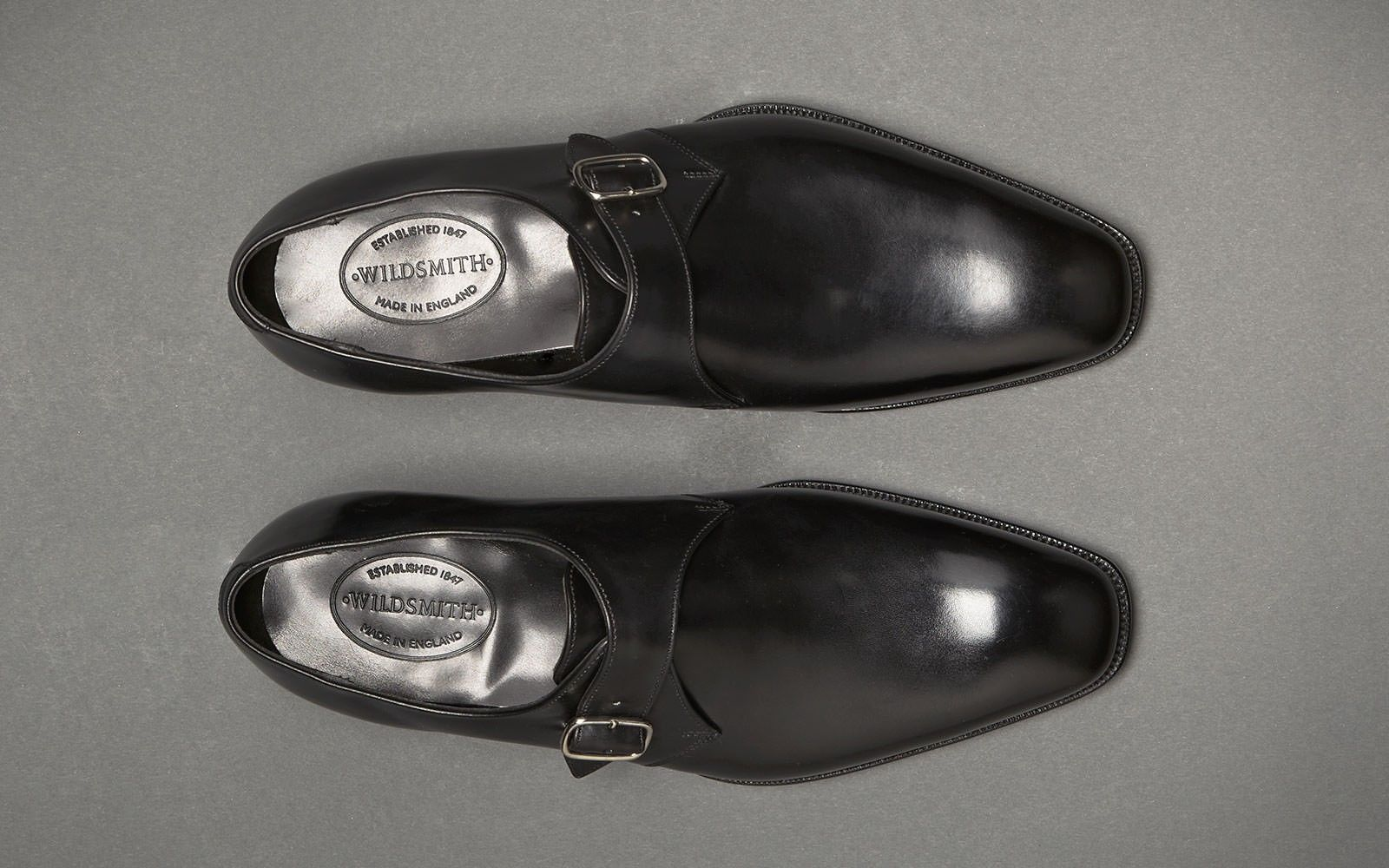 Wildsmith: St James Monk Mens Black Leather Single Strap Monk Shoe, Wildsmith Shoes