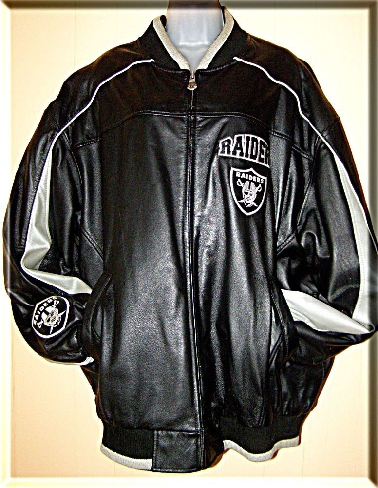 SALE ☼ NFL Raiders Vintage Bomber Jacket Leather black mens XXL ...