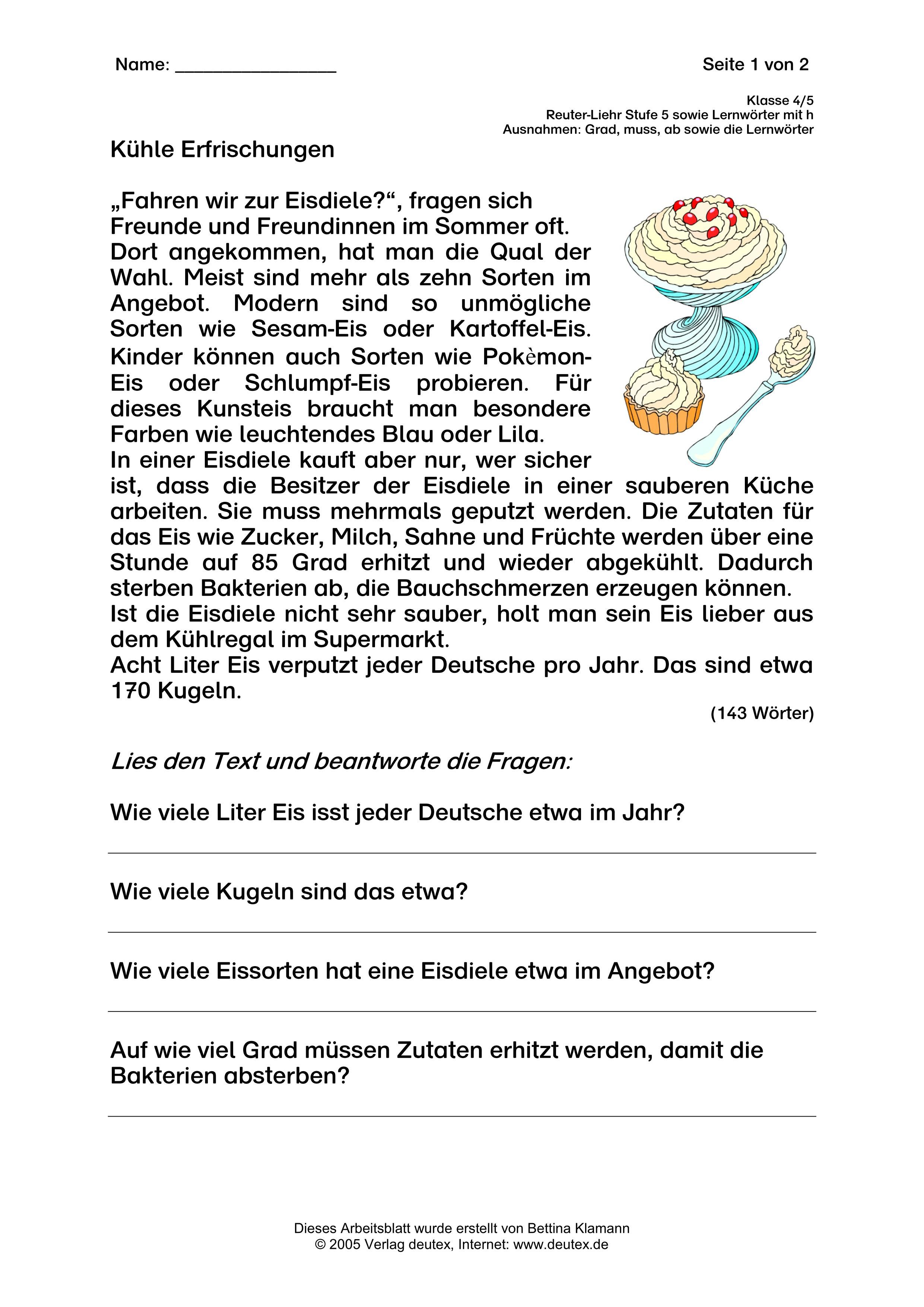 Thema (Speise-) Eis, Klasse 4/5 (Ruter-Liehr Stufe 5) – Deutsch in ...